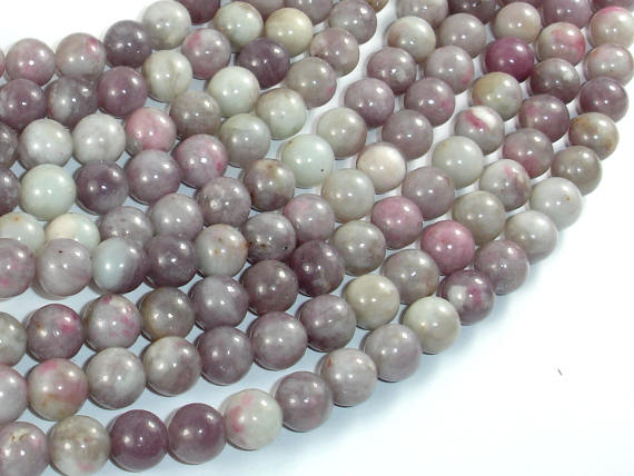 Lilac Jasper Beads, Pink Tourmaline Beads, 8mm Round Beads-BeadBasic