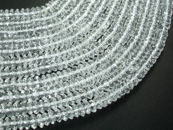 Clear Quartz Beads, Faceted Rondelle, Faceted Saucer, 3.5x6.5mm