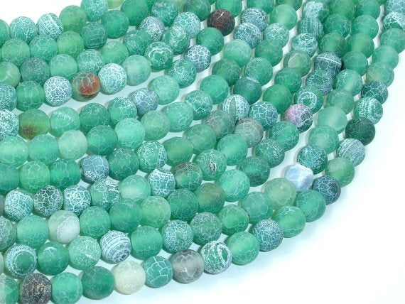Frosted Matte Agate - Green, 6mm Round Beads-BeadBasic