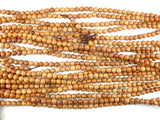 Taxus Chinensis Wood Beads, 6mm Round Beads, 25 Inch, Full strand