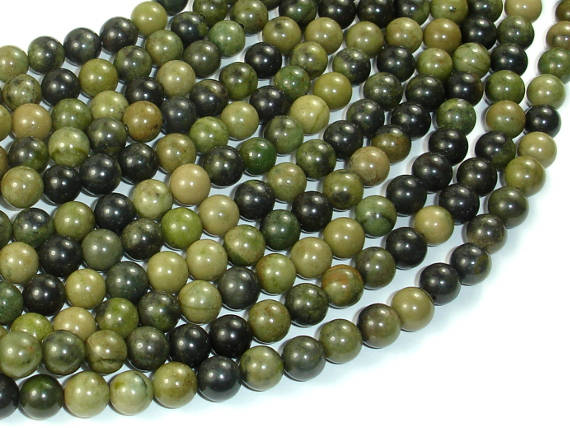 African Green Autumn Jasper Beads, 6mm (6.4mm)-BeadBasic