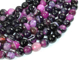 Agate Beads, Pink & Black, 10mm Faceted-BeadBasic