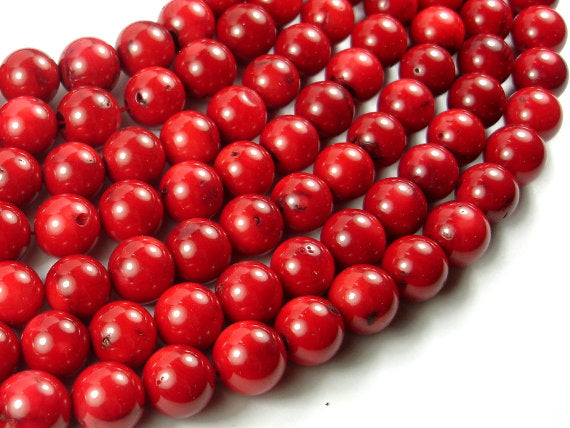 Red Bamboo Coral Beads, 12mm(12.5mm) Round Beads, 15.5 Inch, Full strand