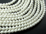 White Lava Beads, 6mm(6.3mm) Round Beads-BeadBasic