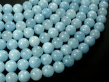Sponge Quartz Beads-Aqua, 10mm Round Beads-BeadBasic