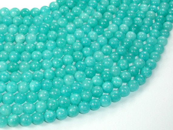 Sponge Quartz Beads-Teal, 6mm Round Beads-BeadBasic