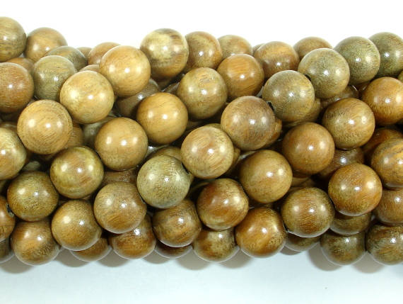 Green Sandalwood Beads, 10mm Round Beads-BeadBasic