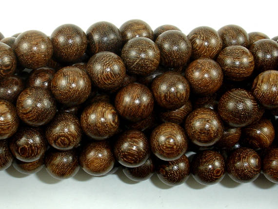 Gold Phoebe Ebony Beads, Gold Wire Sandalwood, 10mm Round Beads, 42 Inch