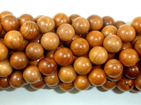 Taxus Chinensis Wood Beads, 10mm Round Beads-BeadBasic