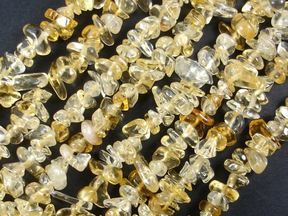 Citrine Beads, Pebble Chips, Approx (4-7) mm, 15.5 Inch