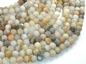 Matte Bamboo Leaf Agate, 6mm (6.5mm) Round Beads, 15.5 Inch, Full strand