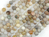 Matte Bamboo Leaf Agate, 6mm Round Beads-BeadBasic