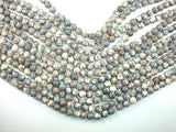 Rain Flower Stone, Light Gray, White, 8mm Round Beads-BeadBasic
