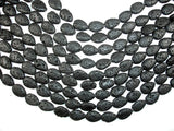Black Lava, 13x18mm Flat Teardrop Beads-BeadBasic