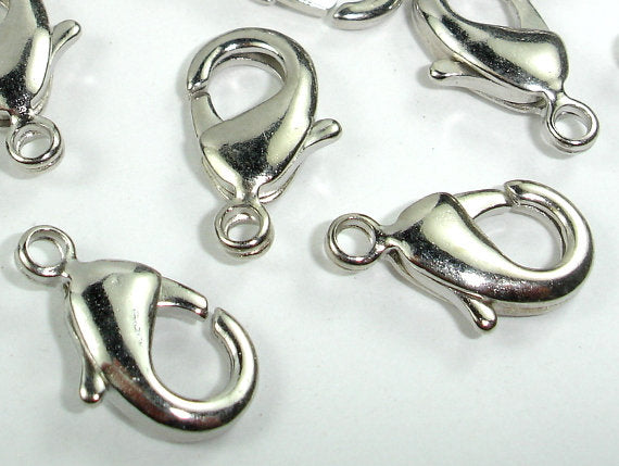 Lobster Claw Clasp, Rhodium Plated Copper, 20 pcs-BeadBasic