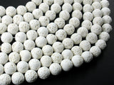 White Lava Beads, 10mm Round Beads-BeadBasic