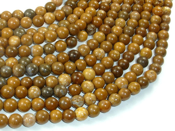Agate Beads-Brown, 6mm(6.5mm) Round Beads, 15 Inch, Full strand