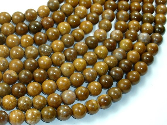 Agate Beads-Brown, 8mm(8.5mm) Round Beads, 15 Inch, Full strand