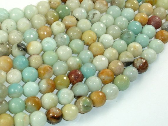 Amazonite Beads, 8mm (8.4mm) Faceted Round Beads, 15 Inch, Full strand