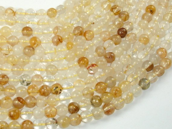 Yellow Quartz, 6mm(6.3mm) Round Beads, 15.5 Inch, Full strand