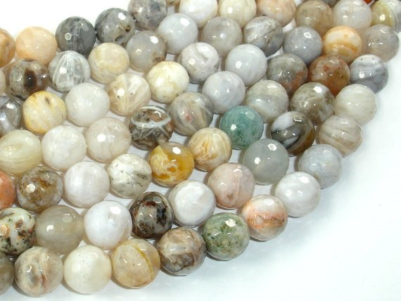 Bamboo Leaf Agate, 10mm Faceted Round Beads, 15.5 Inch, Full strand