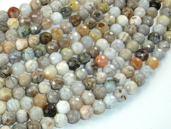 Bamboo Leaf Agate Beads, 6mm(6.4mm) Faceted Round Beads-BeadBasic