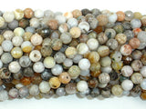 Bamboo Leaf Agate Beads, 6mm(6.4mm) Faceted Round Beads , 15 Inch, Full strand