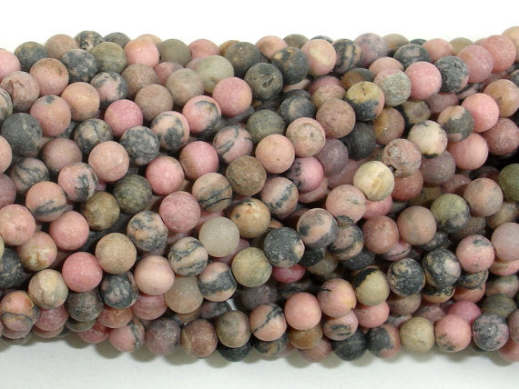 Matte Rhodonite Beads, 4mm (4.5mm) Round Beads, 15 Inch, Full strand