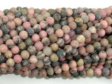 Matte Rhodonite Beads, 4mm, Round Beads-BeadBasic