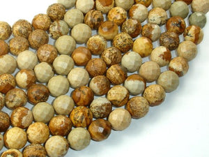 Picture Jasper Beads, 10mm Faceted Round Beads-BeadBasic