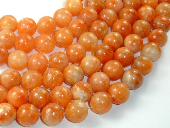 Orange Calcite Beads, 12mm Round Beads-BeadBasic