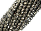 Pyrite Beads, 4mm Faceted Round-BeadBasic