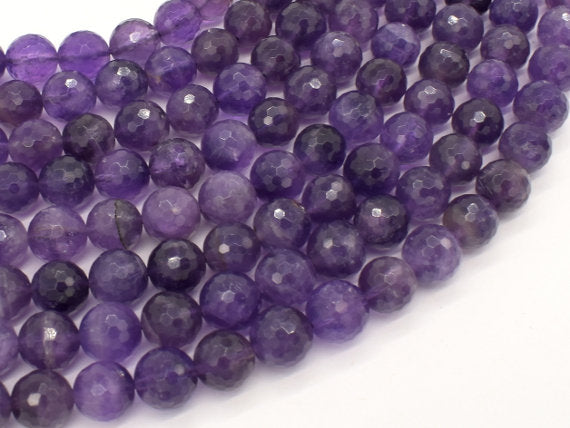 Amethyst Beads, 10mm Faceted Round, 15.5 Inch, Full strand