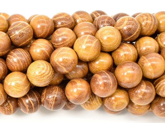 Yellow Wood Beads, Nangka Wood Beads, 10mm (10.3mm) Round Beads, 43 Inch-BeadBasic