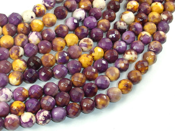 Rain Flower Stone Beads, Purple, Yellow, 8mm (8.3mm) Faceted Round Beads