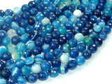 Banded Agate Beads, Striped Agate, Blue, 8mm Faceted Round Beads