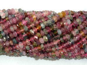 Watermelon Tourmaline Beads, 2x3.8mm Faceted Rondelle, 15.5 Inch, Full strand