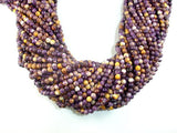 Rain Flower Stone, Purple, Yellow, 4mm Round Beads-BeadBasic