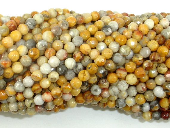 Crazy Lace Agate Beads, 4mm(4.4mm) Faceted Round, 15.5 Inch, Full strand