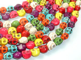Howlite Skull Beads, Multi-color, 8x10mm-BeadBasic