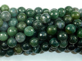 Moss Agate Beads, 10mm Faceted Round Beads-BeadBasic