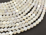 Druzy Agate Beads, White Geode Agate Beads, 6mm (6.2mm) Round Beads, 15 Inch