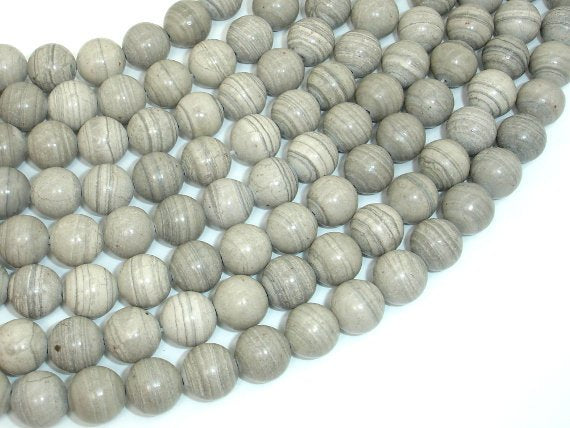 Gray Banded Jasper, 10mm (10.3mm) Round Beads, 15.5 Inch, Full strand
