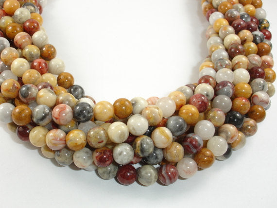 Crazy Lace Agate Beads, 8mm Round Beads-BeadBasic