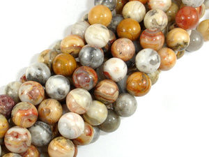 Crazy Lace Agate Beads, 10mm Round Beads-BeadBasic