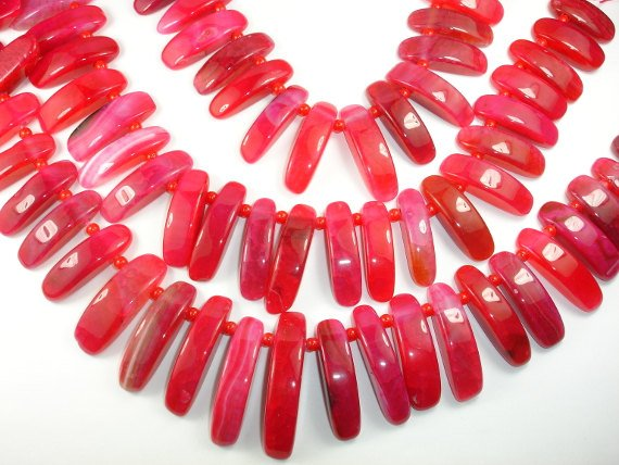 Agate Beads  Red Stick Graduated, Top Drilled, Full strand, Approx 29 beads