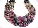 A+ Grade Watermelon Tourmaline Bead Faceted Rondelle 2x4mm, 14.5 Inch, Full strand, Approx 160 beads