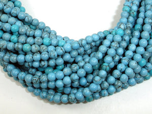 Turquoise Howlite Beads, 4mm Round Beads, 15.5 Inch, Full strand