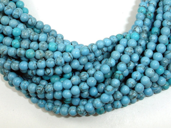 Turquoise Howlite Beads, 4mm Round Beads-BeadBasic