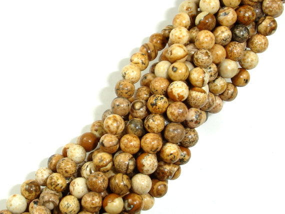 Picture Jasper Beads, 4mm (4.7 mm) Round Beads, 15.5 Inch, Full strand